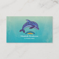 Blue Dolphin Jumping Over Colorful Water Business Card