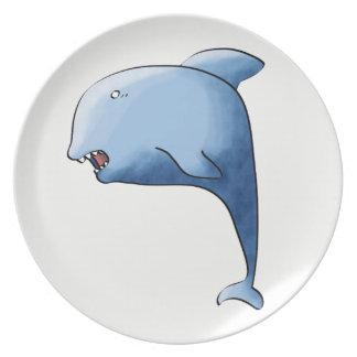 Blue dolphin melamine plate