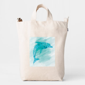 Blue Dolphin Ocean Watercolor Beach Duck Bag