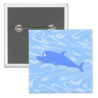 Blue Dolphin on Wavy Pattern. Pin