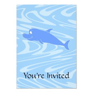Blue Dolphin on Wavy Pattern. Card