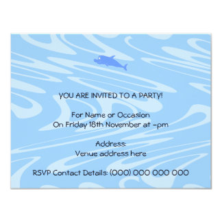"Blue Dolphin on Wavy Pattern. 4.25"" X 5.5"" Invitation Card"