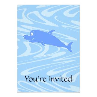 "Blue Dolphin on Wavy Pattern. 5"" X 7"" Invitation Card"