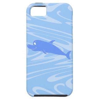 Blue Dolphin on Wavy Pattern. iPhone SE/5/5s Case
