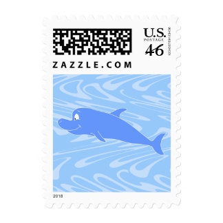 Blue Dolphin on Wavy Pattern. Postage