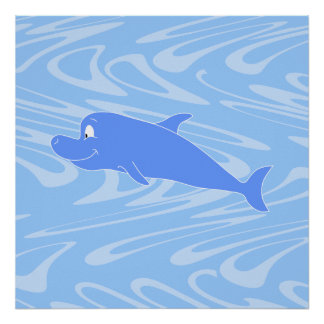 Blue Dolphin on Wavy Pattern. Posters