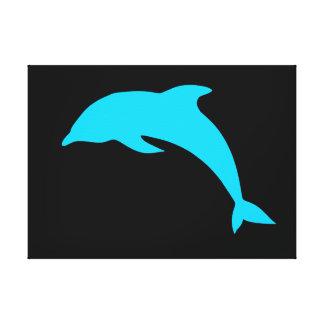 Blue Dolphin Silhouette Canvas Print
