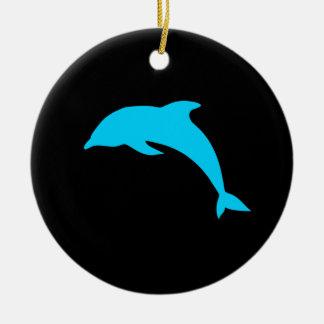 Blue Dolphin Silhouette Ceramic Ornament