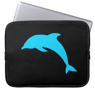 Blue Dolphin Silhouette Computer Sleeve