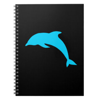 Blue Dolphin Silhouette Spiral Notebook