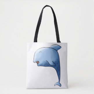 Blue dolphin tote bag