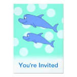 Blue Dolphins. 5x7 Paper Invitation Card
