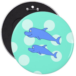 Blue Dolphins. Pinback Buttons