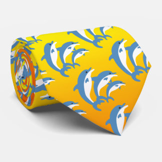 Blue Dolphins Dancing in the Tropical Sun Neck Tie