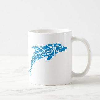 Blue dolphins forming a cute dolphin shape, coffee mug