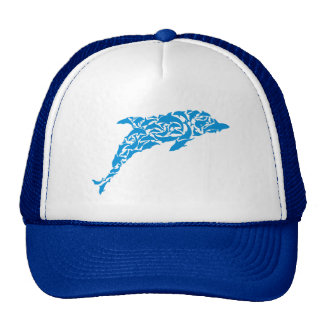 Blue dolphins forming a cute dolphin shape, hat