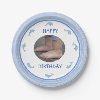 Blue dolphins Happy Birthday Paper Plate