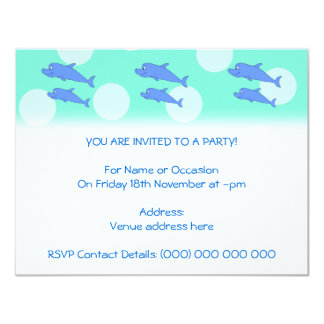Blue Dolphins. 4.25x5.5 Paper Invitation Card