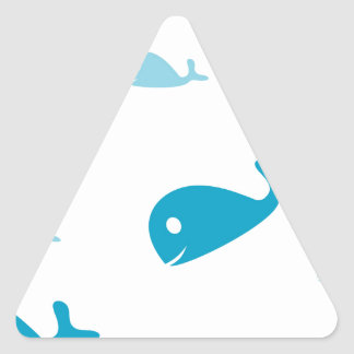 Blue dolphins on a white background triangle sticker
