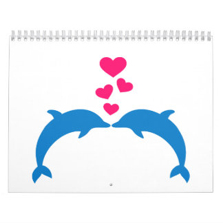 Blue dolphins pink hearts love calendar