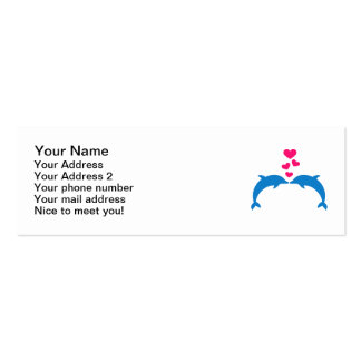 Blue dolphins pink hearts love mini business card