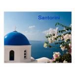 Blue dome in Santorini Postcard
