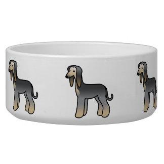 Blue Domino Afghan Hound Cartoon Dog Bowl