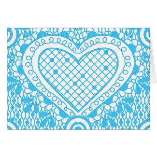 Blue Doodle and Lace heart - close up Card