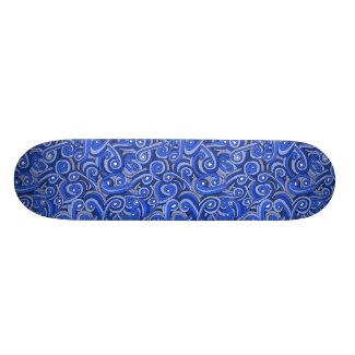 Blue Doodled Design on Skateboard