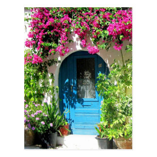 Blue door framed with beautiful bougainvillea postcard