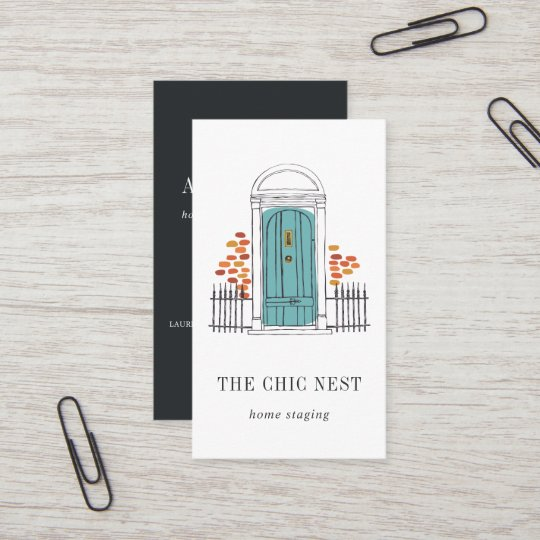 blue door home staging or interior design business card - Interior Design Business Cards