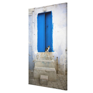 Blue door, Kairouan, Tunisia, Africa Canvas Print