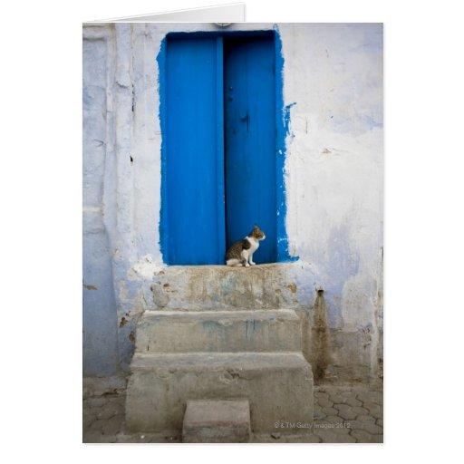 Blue door, Kairouan, Tunisia, Africa Card