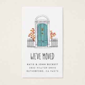 Blue Door Moving Announcement Insert Cards