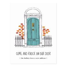 Blue Door Moving Announcement Postcard at Zazzle