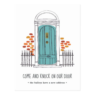 Blue Door Moving Announcement Postcard
