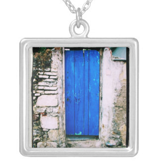 BLUE DOOR Old Town of Chania, Crete Silver Plated Necklace