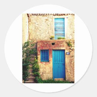 Blue-doors-321 Pegatina Redonda