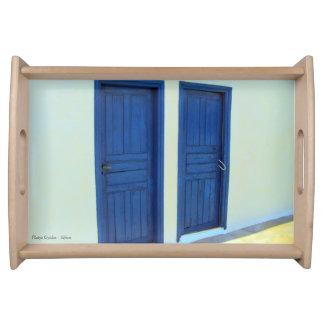 Blue doors in Platys Gyalos - Sifnos Food Trays