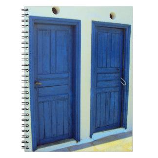 Blue doors in Platys Gyalos - Sifnos Spiral Notebook