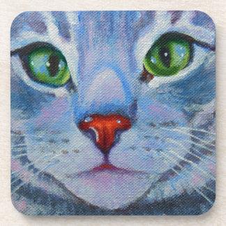 Blue Dora, Grey Tabby Cat Drink Coaster