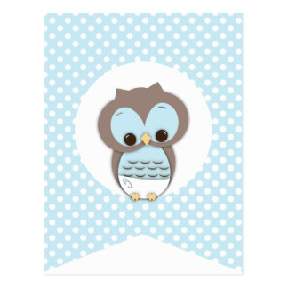 Blue Dot Baby Owl Party Flag Bunting Banner Postcard