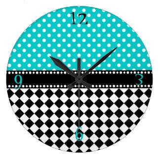 Blue Dot Checkerboard Wallclock
