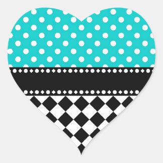 Blue Dot Checkerboard Heart Sticker