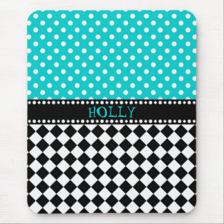 Blue Dot Checkerboard Mouse Pad