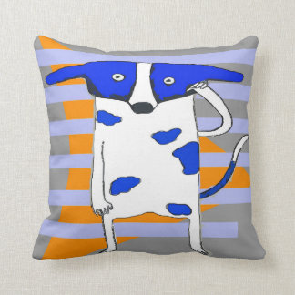 Blue Dot Dog Throw Pillow