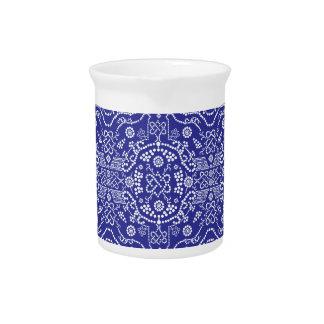 blue dot flower pattern beverage pitchers