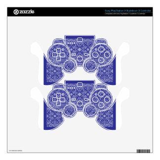 blue dot flower pattern PS3 controller decal