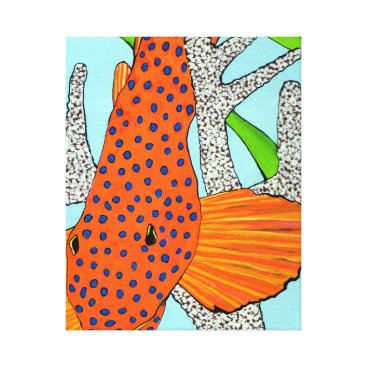 Beach Themed Blue Dot Grouper in Coral Canvas Print