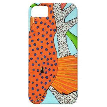 Beach Themed Blue Dot Grouper in Coral iPhone SE/5/5s Case